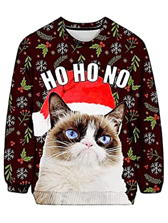 Grumpy Cat Ugly Christmas Sweater.Grumpy Cat Ugly Christmas Sweatshirt Front Back Graphic
