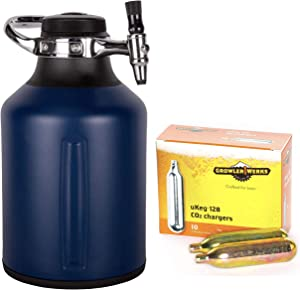 GrowlerWerks uKeg Go 128 Carbonated Growler and Craft Beverage Dispenser for Beer, Midnight, Box of 10 16g CO2 Chargers