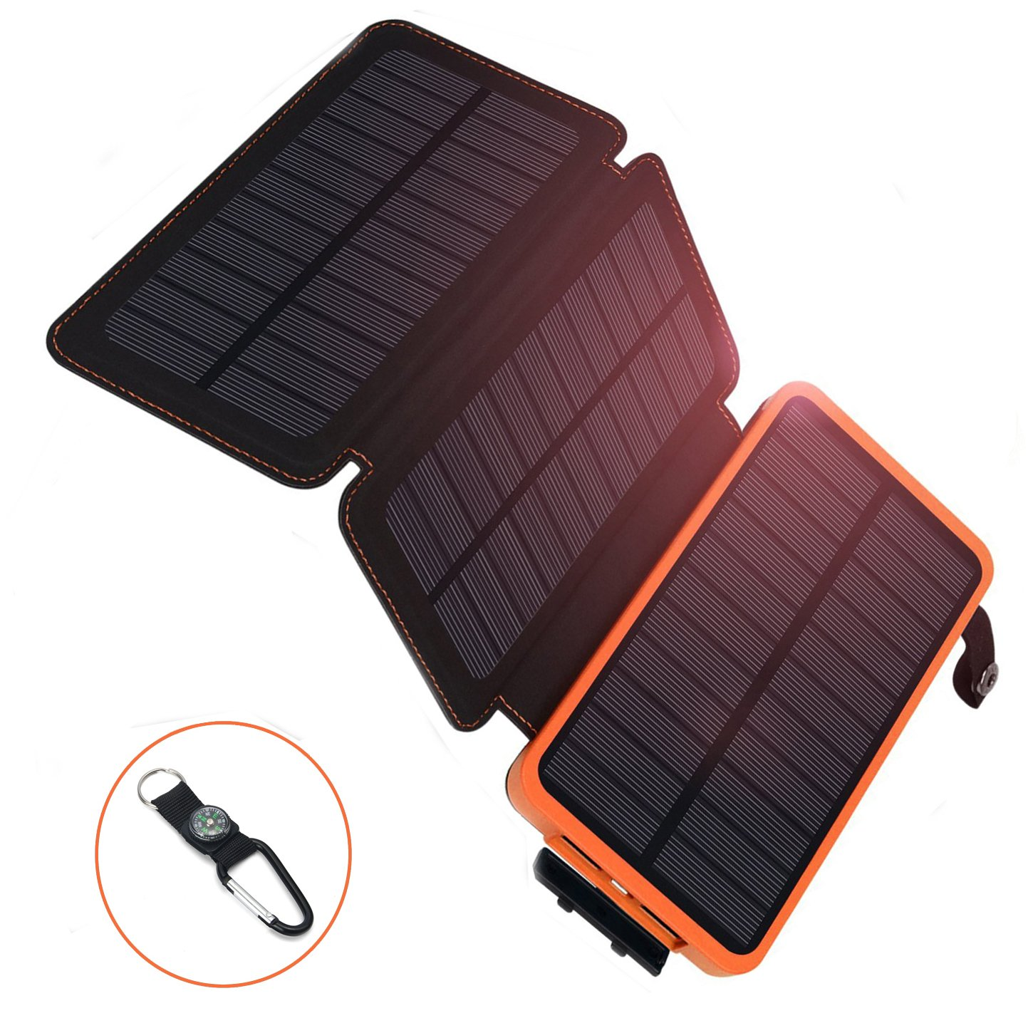 AZOT Solar Phone Charger Solar Power Bank Portable External Backup Battery Pack Dual USB with Flashlight fits iPhoneX, iPhone7, iPad, Samsung Cell Phone for Travelling Outdoor Camping (Orange)