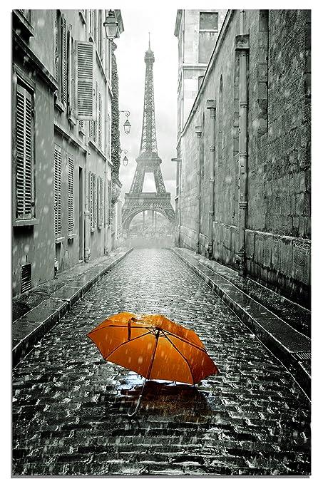 Maison Artwork Romántico París Streetscape Lluvia Paraguas Torre Eiffel Impresiones Sobre Lonas Impresiones de la Pared