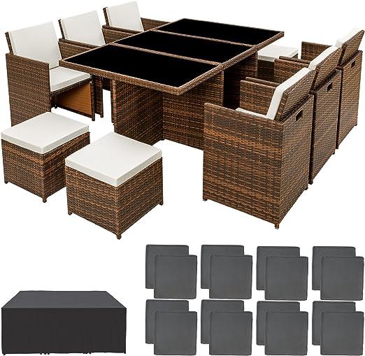 TecTake Ensemble Salon de jardin en Résine Poly Rotin Aluminium Table Set  6+1+4 avec deux set de housses + housse de protection, vis en acier ...