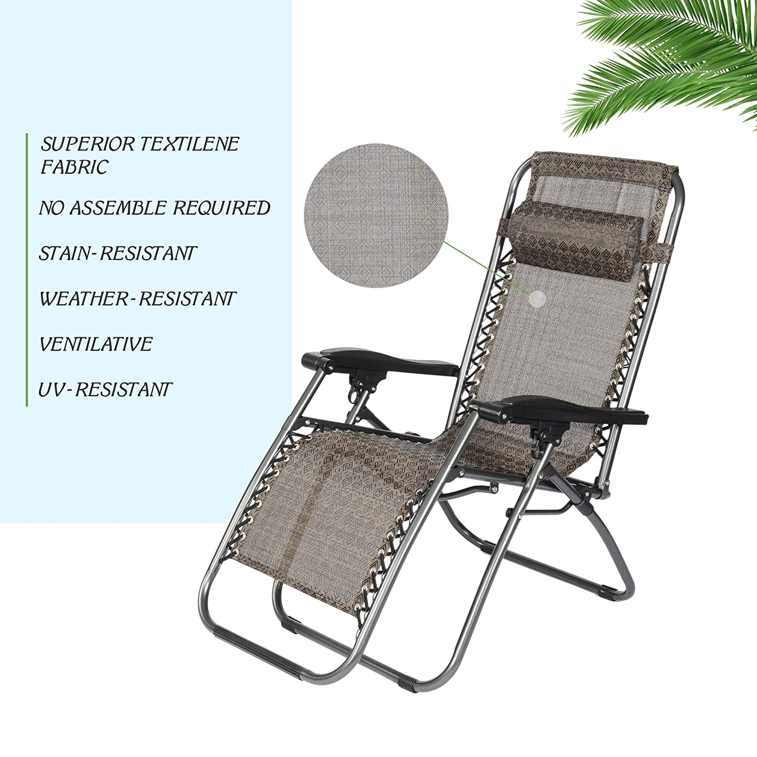 Livebest Set of 2 Adjustable Zero Gravity Chair Patio Lounge Chairs Folding Recliner Outdoor Pool Yard Beach