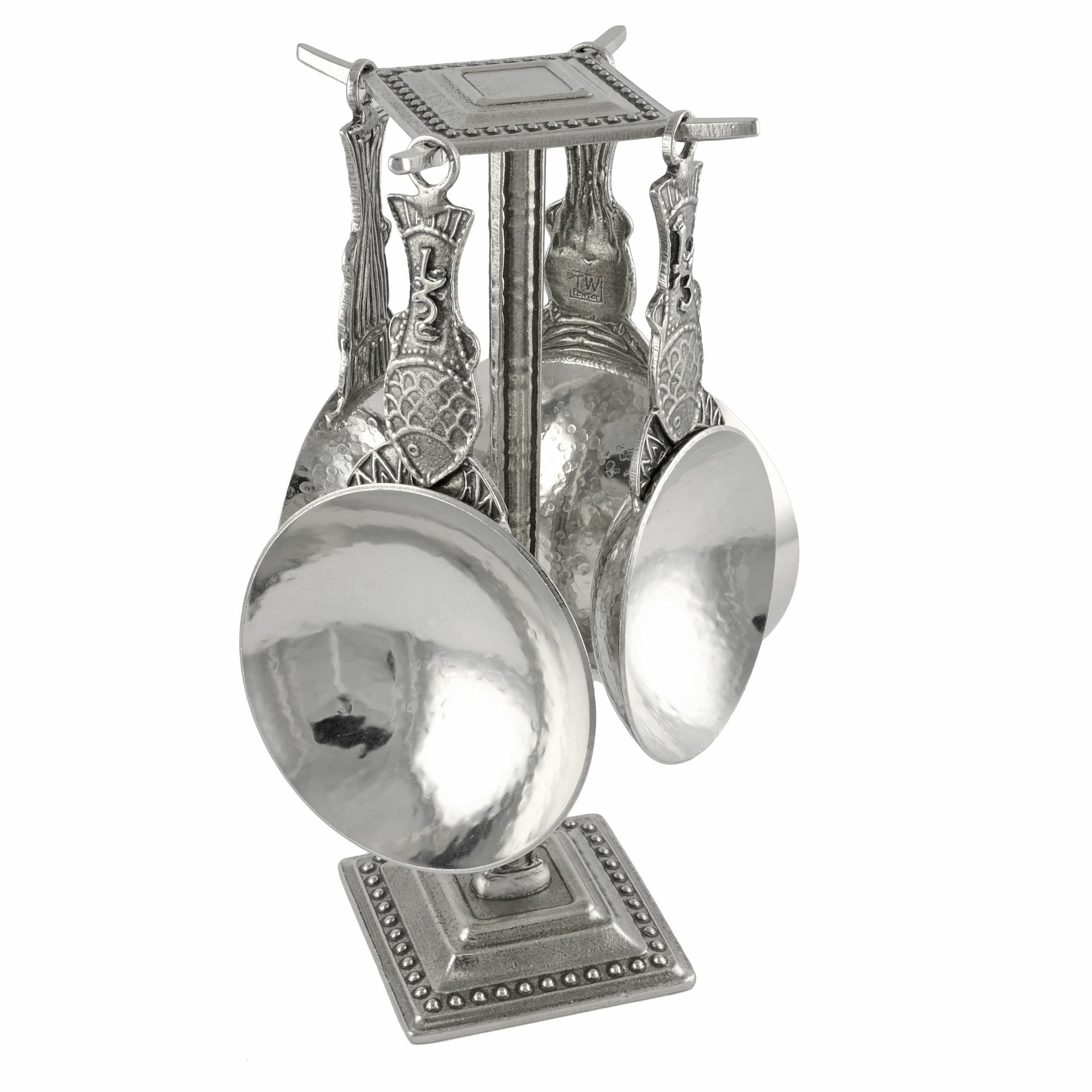 Crosby & Taylor Fish Pewter Measuring Cups with Display Post
