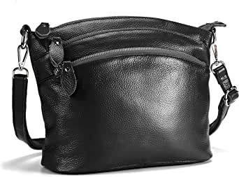 Lecxci Small Luxury Genuine Leather Cross Body Purses, Zipper Makeup Smartphone Wallets, Over The Shoulder Bags For Women Teen Girls