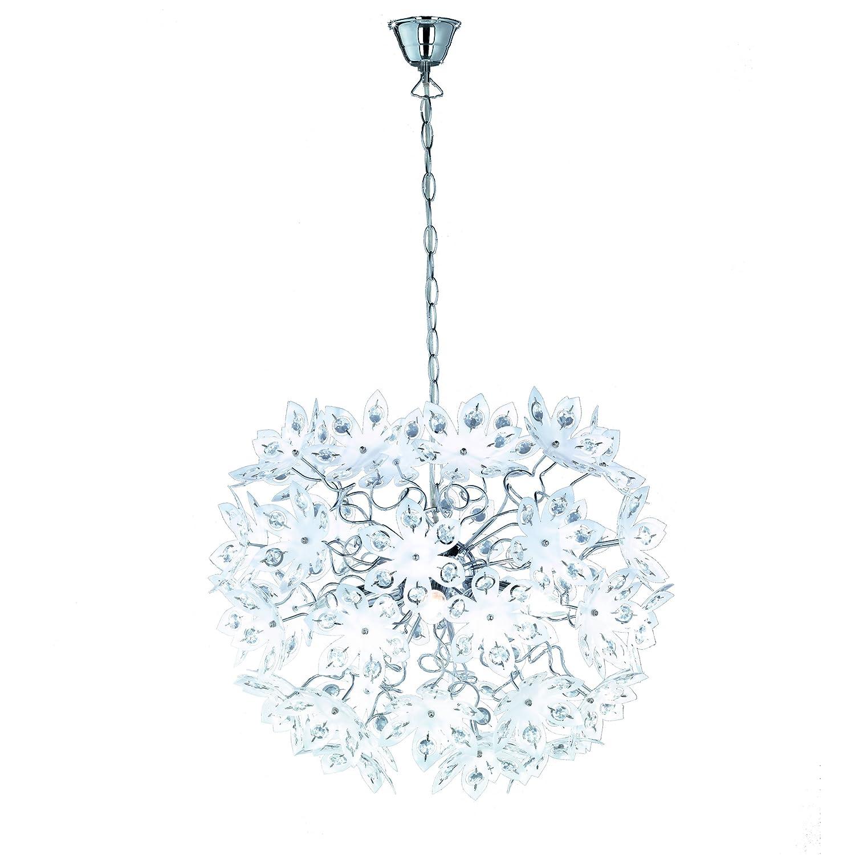 Reality Leuchten Pendellampe chrom, Acrylblüten weiß weiß Acrylblüten mit klaren Steinen, Durchmesser  55 cm, 5 x E14, maximal 40W, ohne LM R11905001 bf6080