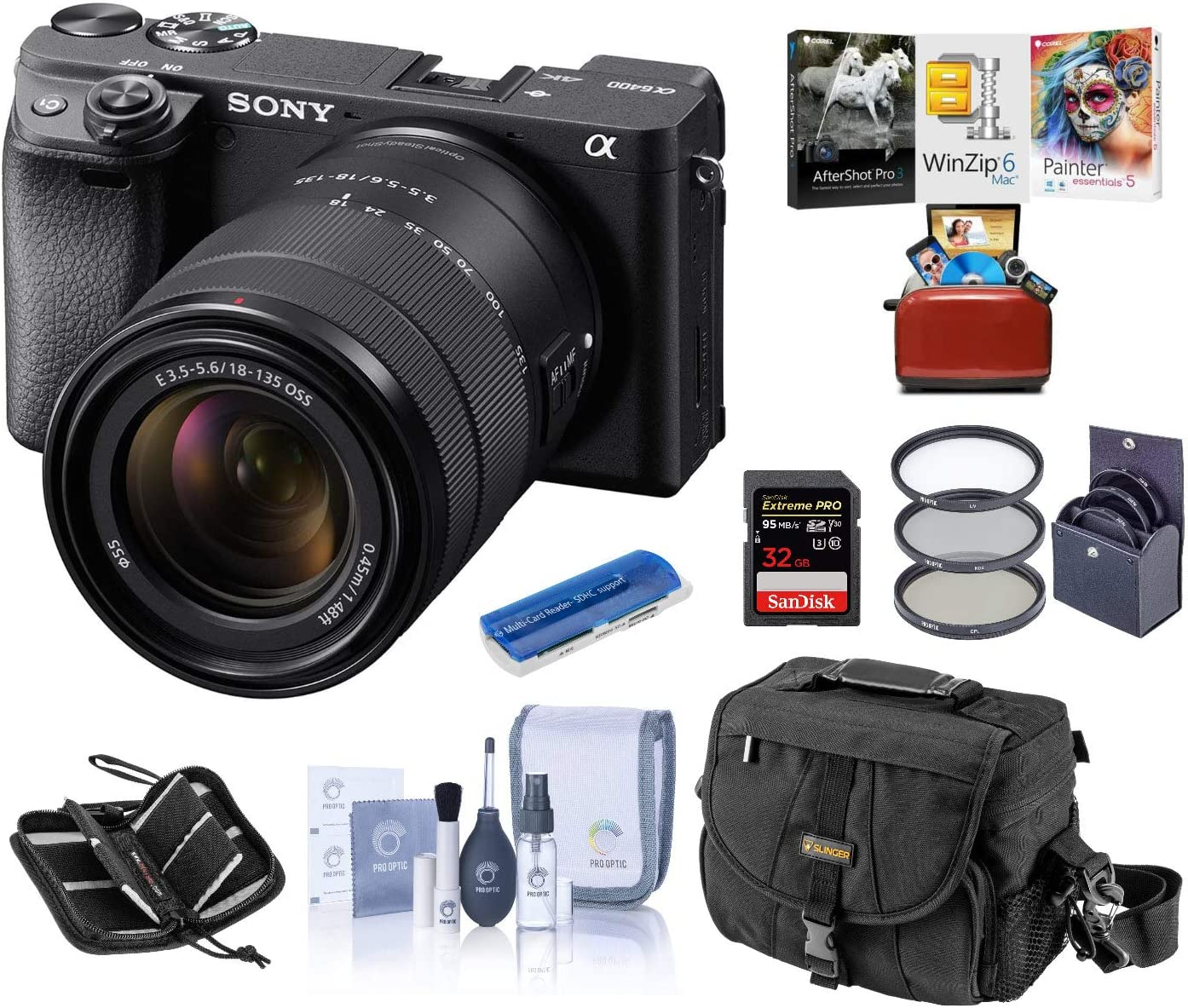 Sony Alpha a6400 Mirrorless Digital Camera with 18-135mm f/3.5-5.6 OSS Lens, Bundle with Camera Bag + Filter Kit + 32GB SD Card + SD Card Case + Corel Mac Software Kit + Cleaning Kit + Card Reader