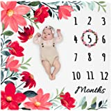 """Organic Monthly Milestone Blanket Baby Girl - Floral Month Blanket with Wreath Marker, 1-12 Months Milestones, Flowers, 47"""" X"""