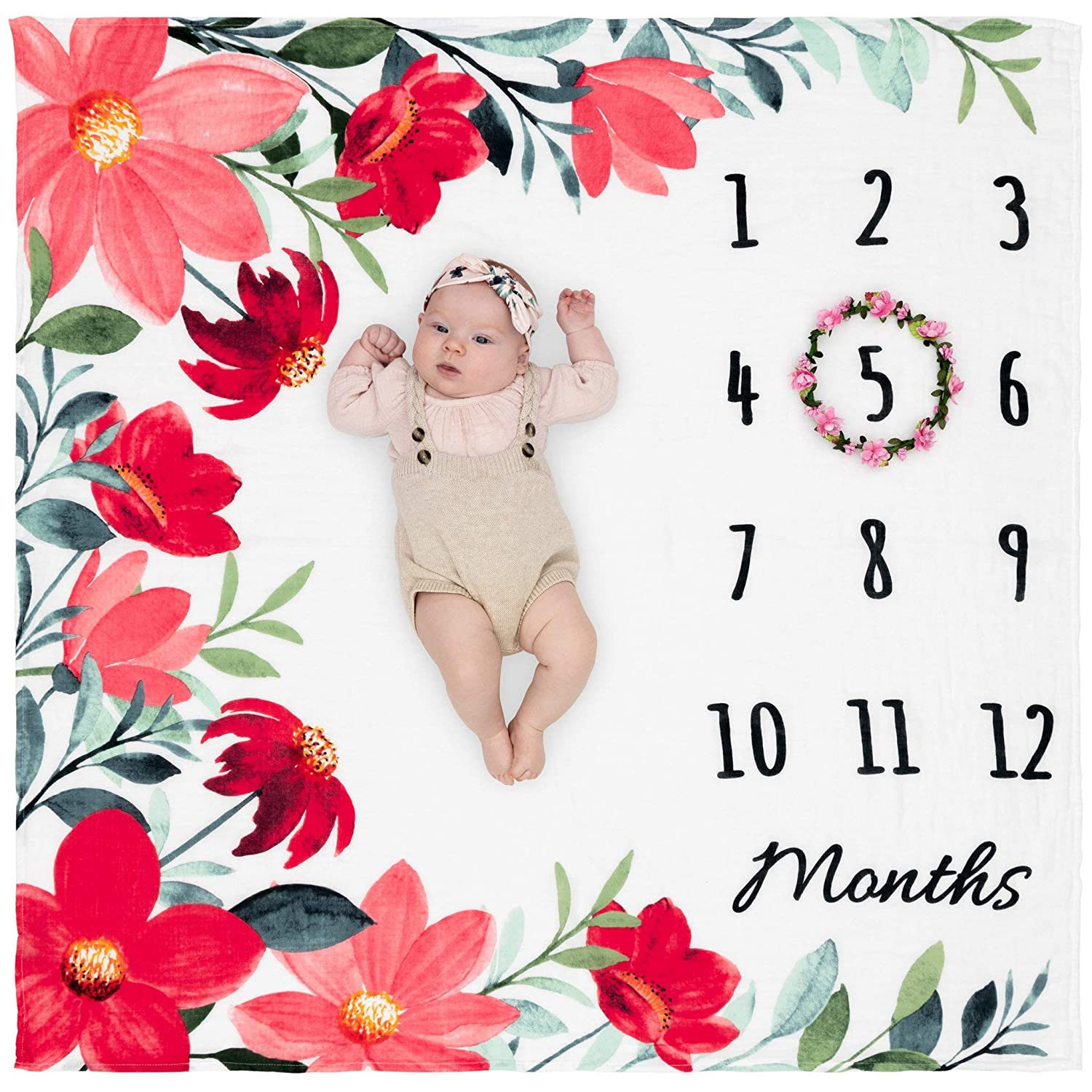 """Organic Baby Monthly Milestone Blanket Girl - Floral Month Blanket with Months Wreath Frame - Flowers Milestone Blanket for Newborn to 12 Months Milestones, Baby Pictures, 47""""x47"""""""