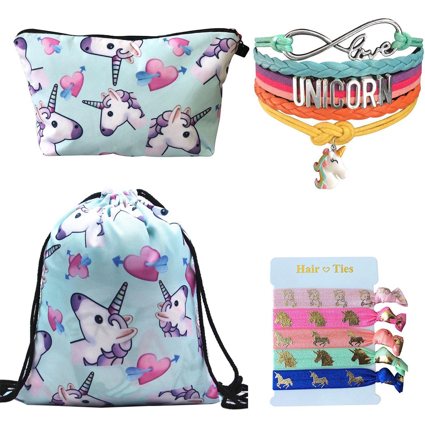 Unicorn Gifts 4 Pack - Unicorn Drawstring Backpack/Makeup Bag/Rainbow Bracelet/Hair Tie (Blue 2)