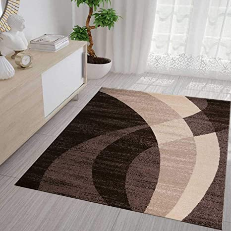 Teppich Modern Design Beige Braun Creme Geschwungene Streifen Muster  Kurzflor Wohnzimmer Teppiche 120x170 cm