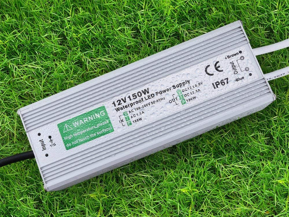 Color Plateado DE AC 110/  / 250/ V A DC 12/ V impermeable IP67 Led Driver transformador