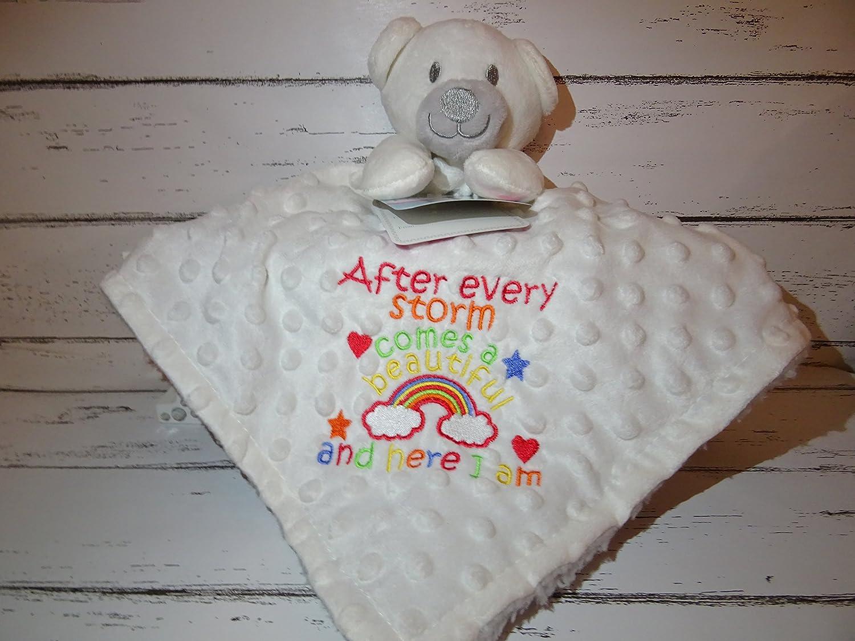 Personalised Rainbow Baby Teddy Bear Comforter Blanket White