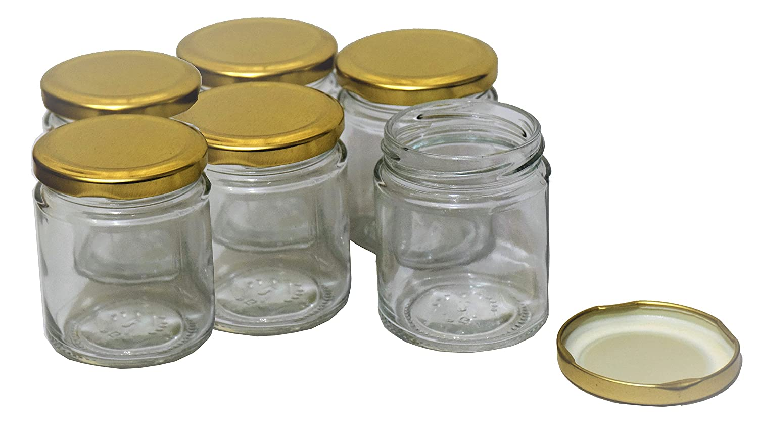 Pure Source India Small Glass jar Set of 6 pcs coming with metal Golden color Air Tight and Rust proof cap , Capacity 50 Gram About Made In India .