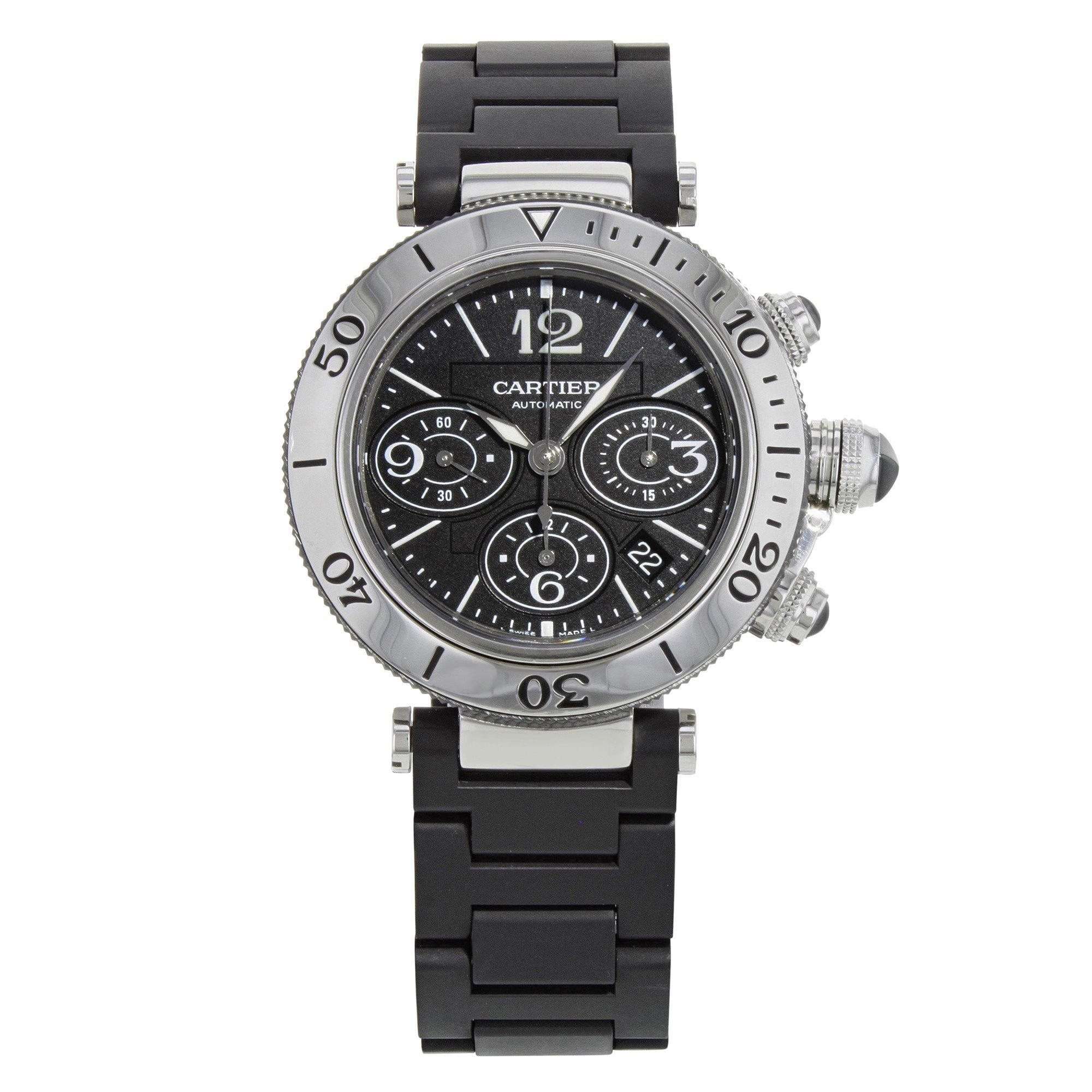 Cartier Pasha Seatimer W31088U2 Stainless Steel Automatic Men's Watch(Certified Pre-owned) by Cartier (Image #1)