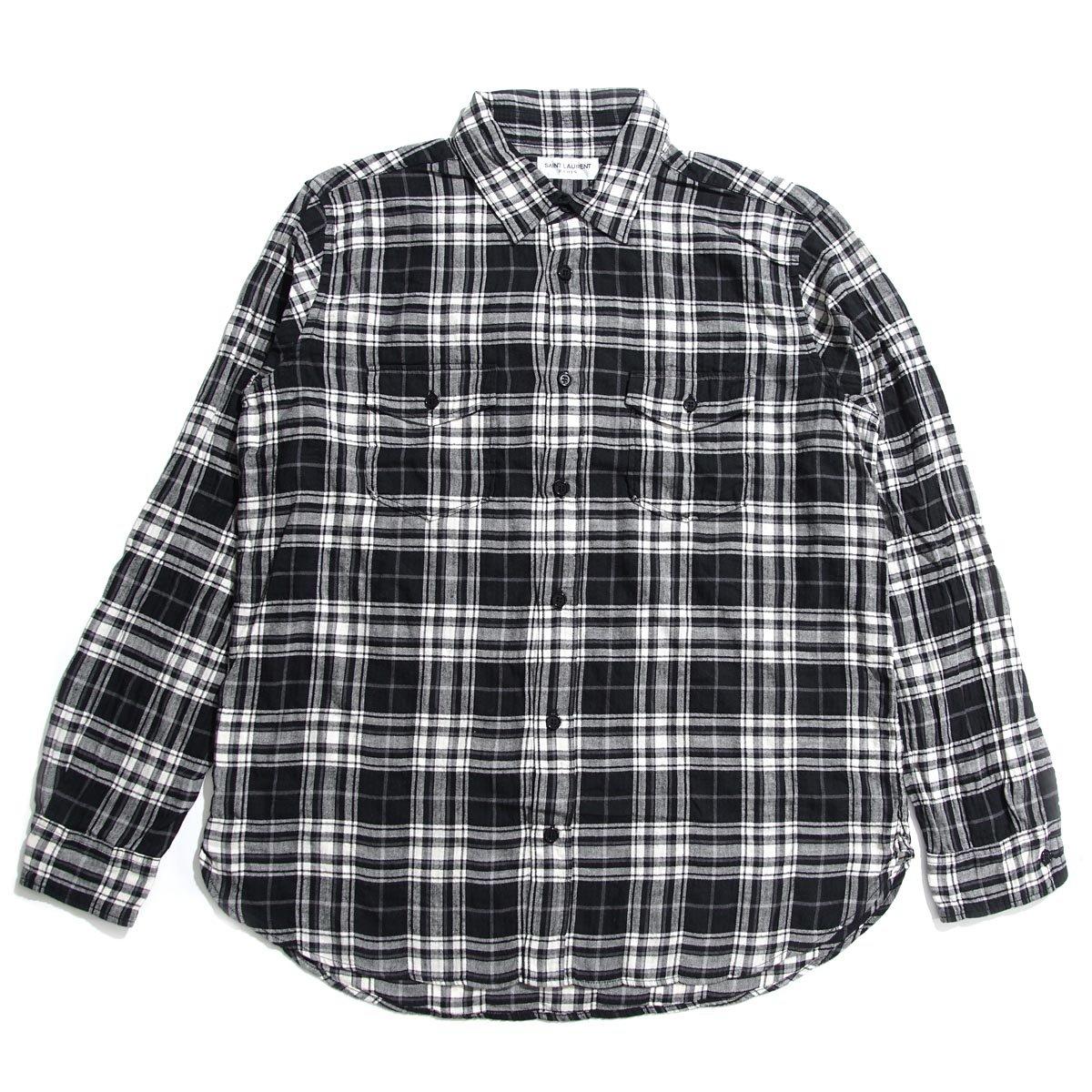 (サンローランパリ) SAINT LAURENT PARIS チェック柄 オーバーサイズ シャツ [並行輸入品] B07DVQ35S2 S|ブラック ブラック S