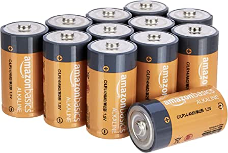 AmazonBasics C Cell 1.5 Volt Everyday Alkaline Batteries - Pack of 12 (Appearance may vary)