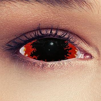 22mm Full Sclera lentilles de couleur noir ardent sans correction pour  halloween Yeux de feu costume 79c8793dd751