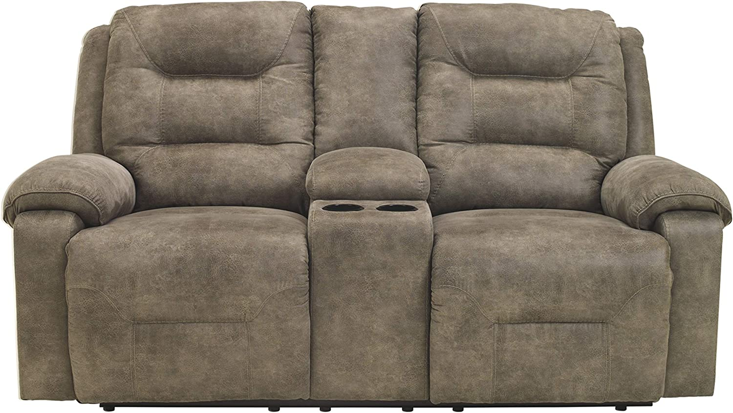 Signature Design by Ashley - Rotation Casual Upholstered Double Reclining Loveseat - Console - Gray