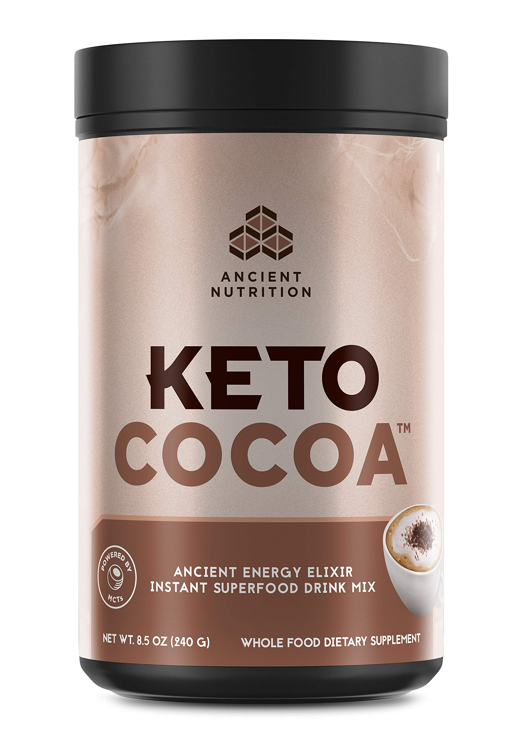 Ancient Nutrition KetoCOCOA Energy Elixir Powder, 20 Servings, Keto Diet Supplement, Hydrolyzed Collagen Peptides, MCTs from Coconut, Organic Cocoa Beans, Energy Booster by Ancient Nutrition