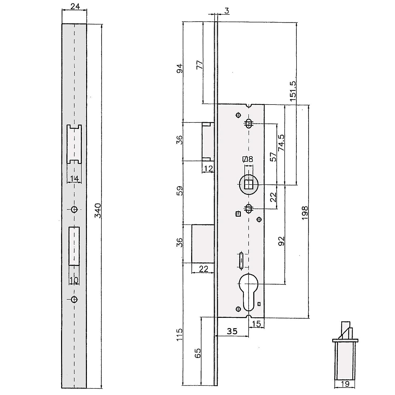 Rohrrahmenschloss Scuteus 92//8 mit Reparaturstulpe aus Edelstahl Stulpe ungelocht 24 x 340