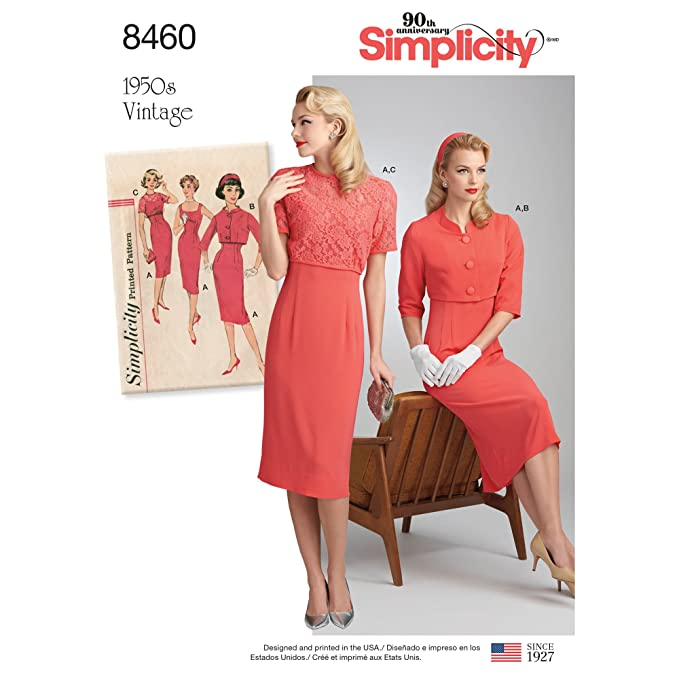 1950s Sewing Patterns | Dresses, Skirts, Tops, Mens Simplicity Vintage Misses Vintage Dress & Jackets Pattern R5 (14-16-18-20-22) $7.75 AT vintagedancer.com