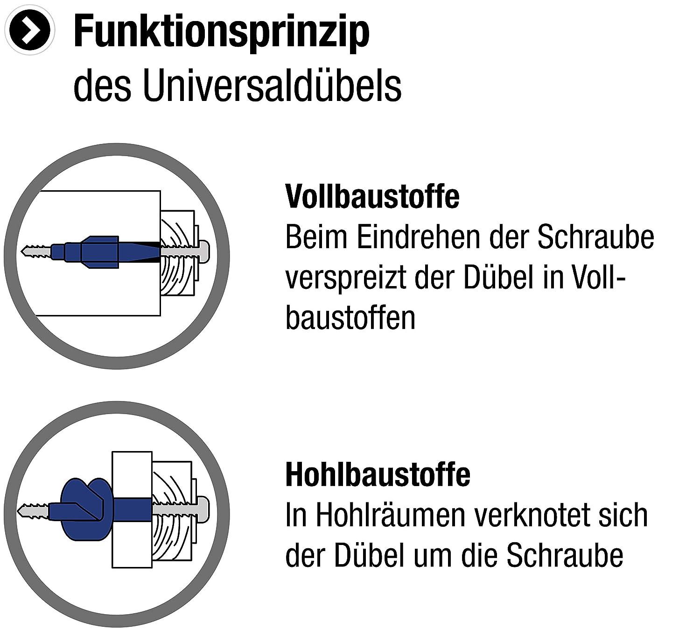 100 St/ück im praktischen Set F/ür Befestigungen in Voll- /& Hohlbaustoffen // Allzweckd/übel // Spreizd/übel // Dreifl/ügel // 952200 /Ø 8 mm Made in Germany Metafranc Universald/übel