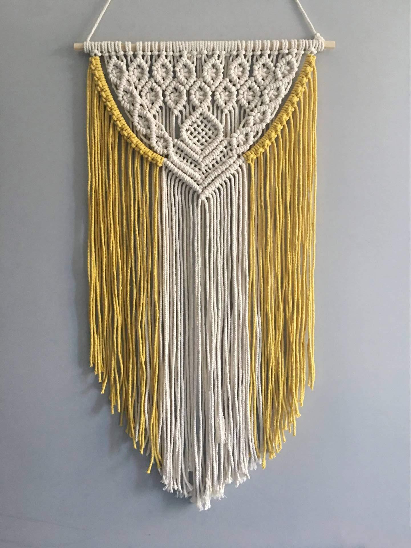 Youngeast Handmade Boho Macrame Wall Hanging Woven Craftmanship 16.9 x 30 Inches Yellow