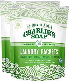 product image for Charlie's Soap - Unscented Powdered Laundry Packets 30 Count (2 Pack 60 Total Loads)