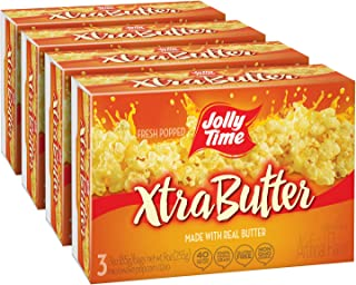 product image for JOLLY TIME Xtra Butter Microwave Popcorn | Gourmet Popcorn Made with Real Butter for Extra Buttery Fresh Popped Flavor (3-Count Box, Pack of 4)