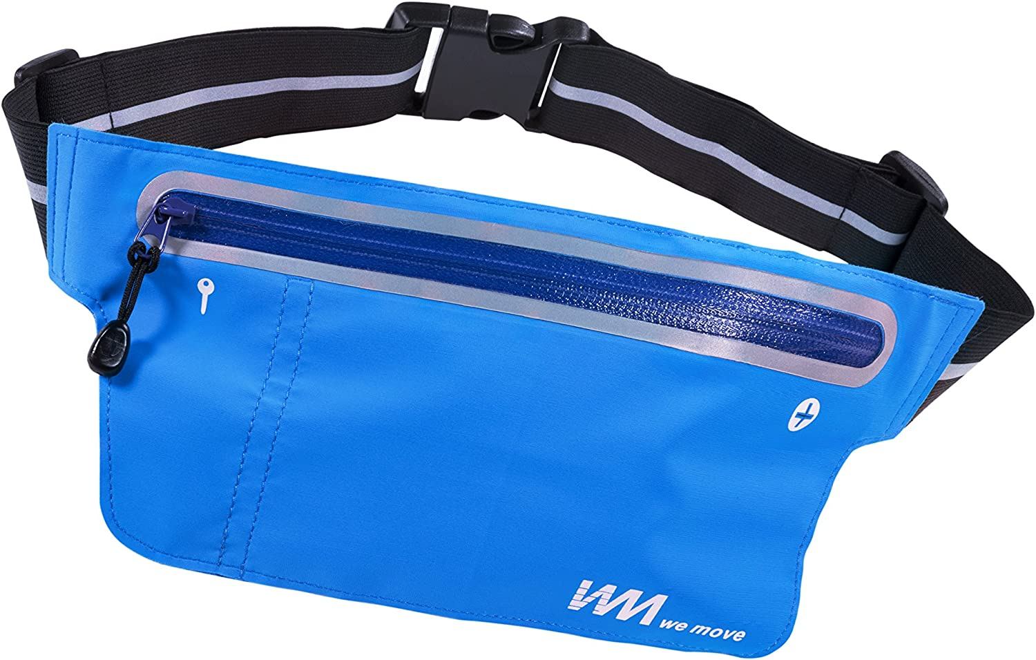 We Move Running Belt Ultrathin Waist Pack, Water Resistant Fabric Reflective Fanny Pack Adjustable Waistband, Fit iphone 6s 6 Plus, 7 Plus Phone Cards Keys