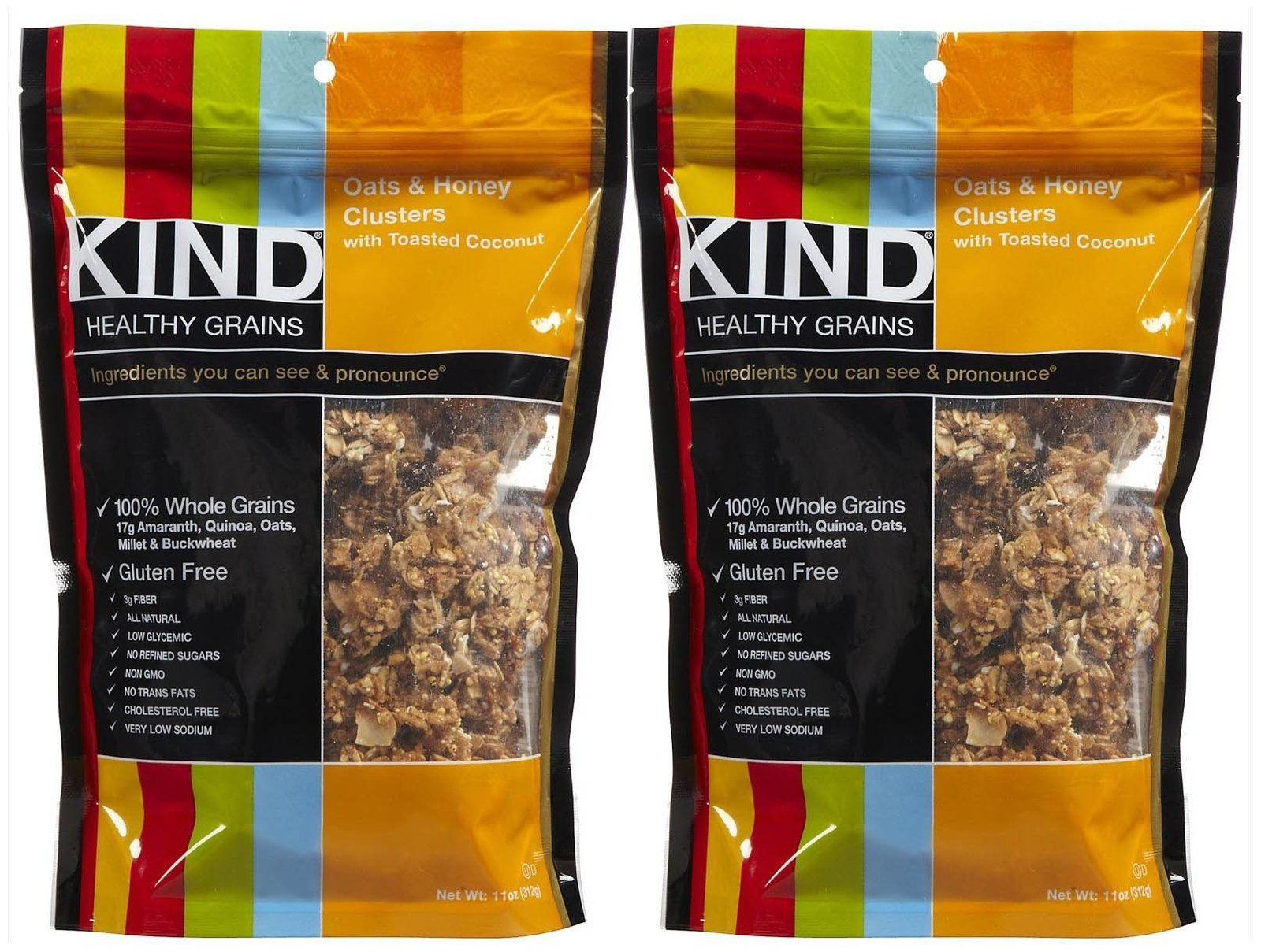 KIND Healthy Grains Clusters - Oats & Honey with Toasted Coconut - 11 Oz - 2 Pack by KIND