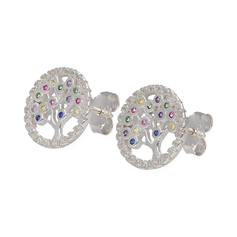 0b5cf4567535 Pendientes de plata con circonitas talla brillante y piedras de color Arbol  de la vida Silver   Steel