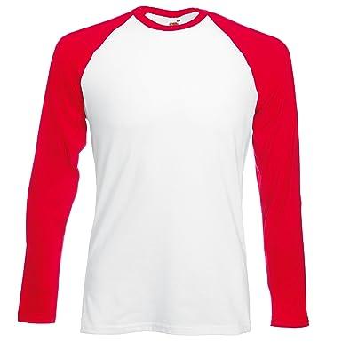 85f6f6b2aa1365 Fruit of the Loom Men s Baseball Classic Long Sleeve T-Shirt  Amazon.co.uk   Clothing