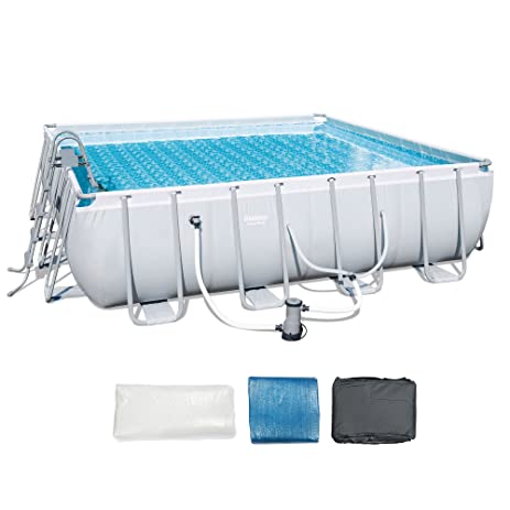 bestway 16 x 48 square frame above ground pool set with ladder and filter