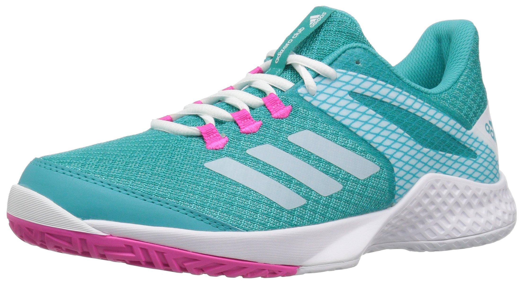 adidas Women's Adizero Club 2 Tennis Shoe, Hi-Res Aqua/White/Shock Pink, 9.5 M US