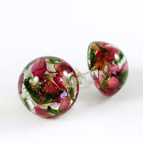 Earrings with pink heather Pink flower earrings Real flower earrings Terrarium earrings Earrings with heather Botanical earrings