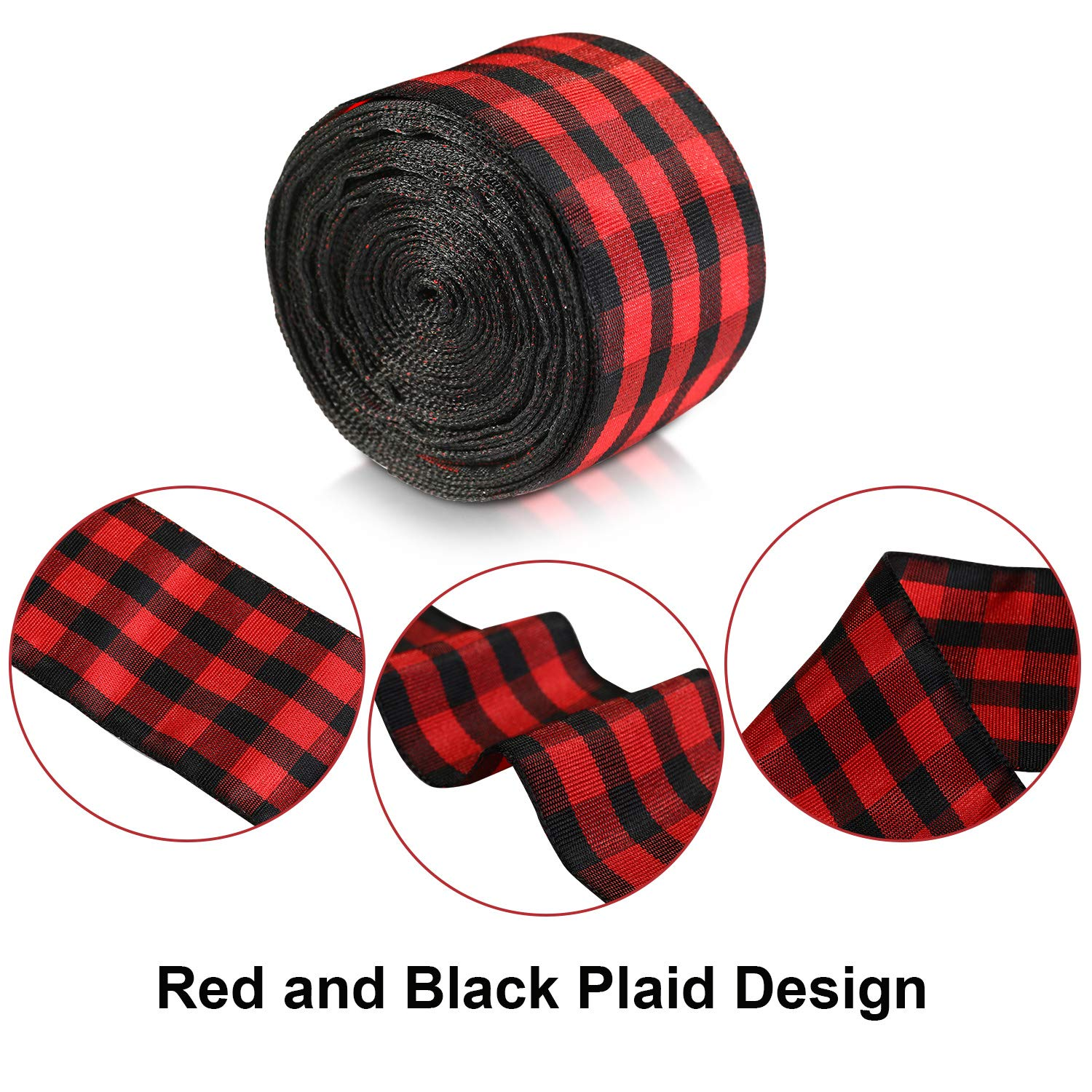6 Sizes Red, Black 60 Yards Christmas Plaid Burlap Ribbon Christmas Gingham Wrapping Ribbon for Christmas Crafts Decoration Floral Bows Craft