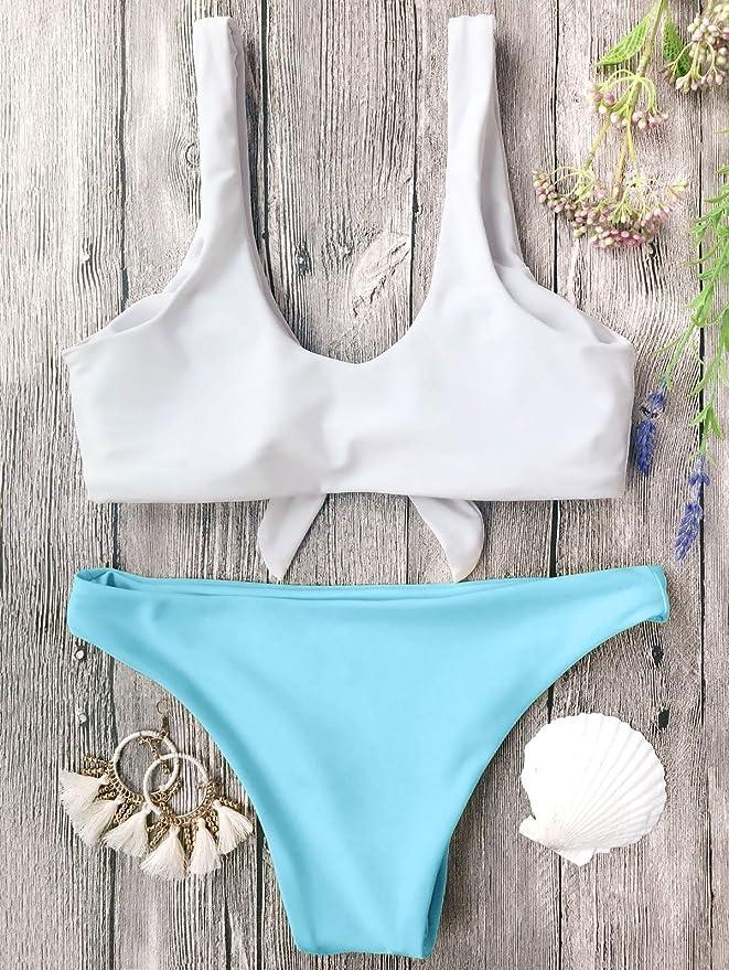 cc2312065c Amazon.com  ZAFUL Women s 2PCS Swimsuits Knotted Bralette Bikini Top and  Bottoms  Clothing