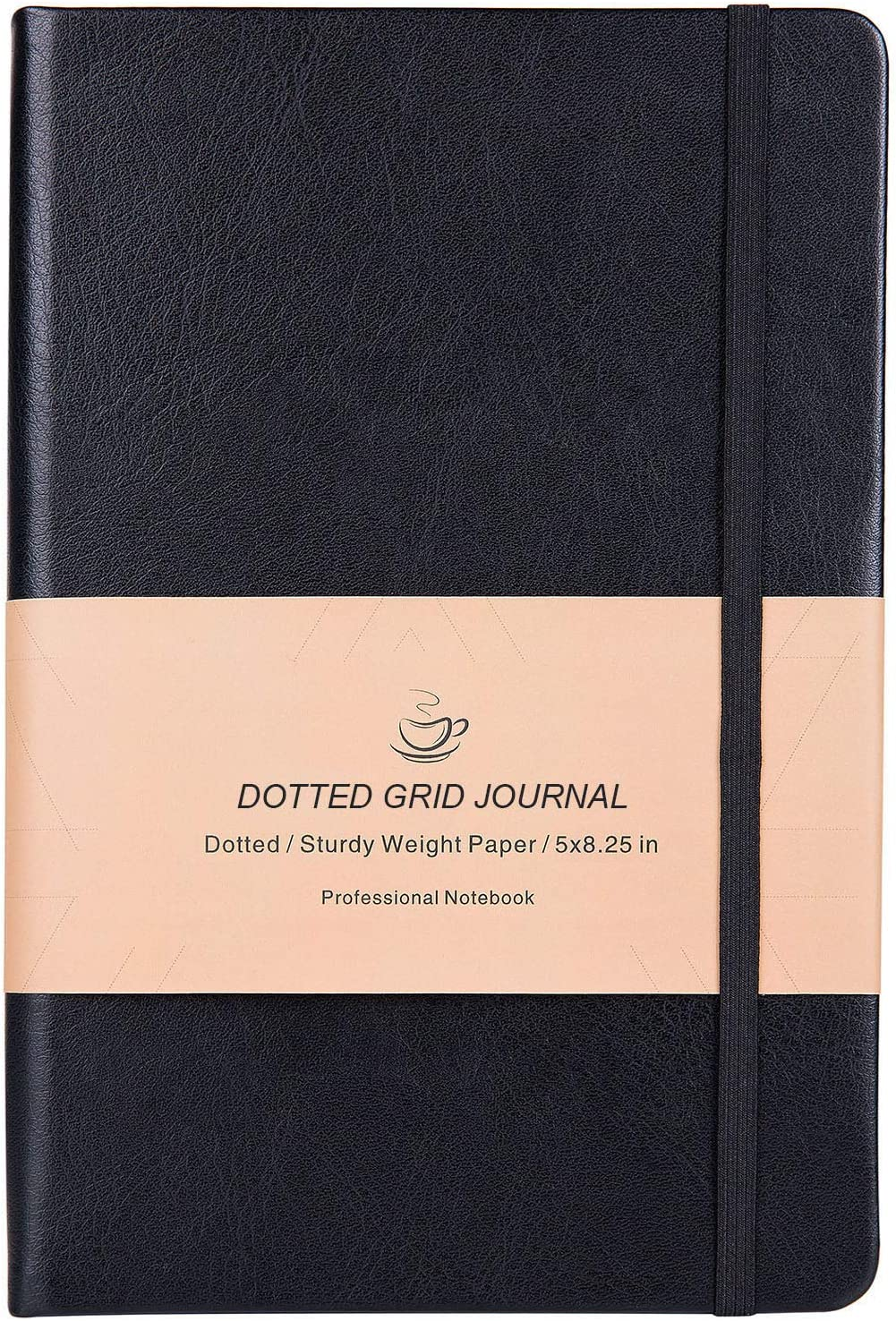 Dotted Grid Notebook/Journal - Dot Grid Hard Cover Notebook, Premium Thick Paper with Fine Inner Pocket, Black Smooth Faux Leather, 5''×8.25''