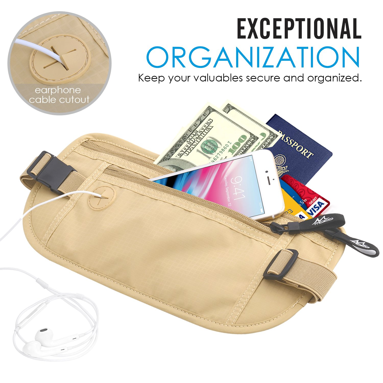 MoKo Secure Travel Money Belt Undercover Hidden RFID Blocking Travel Wallet Anti-Theft Passport Wallets for Men /& Women