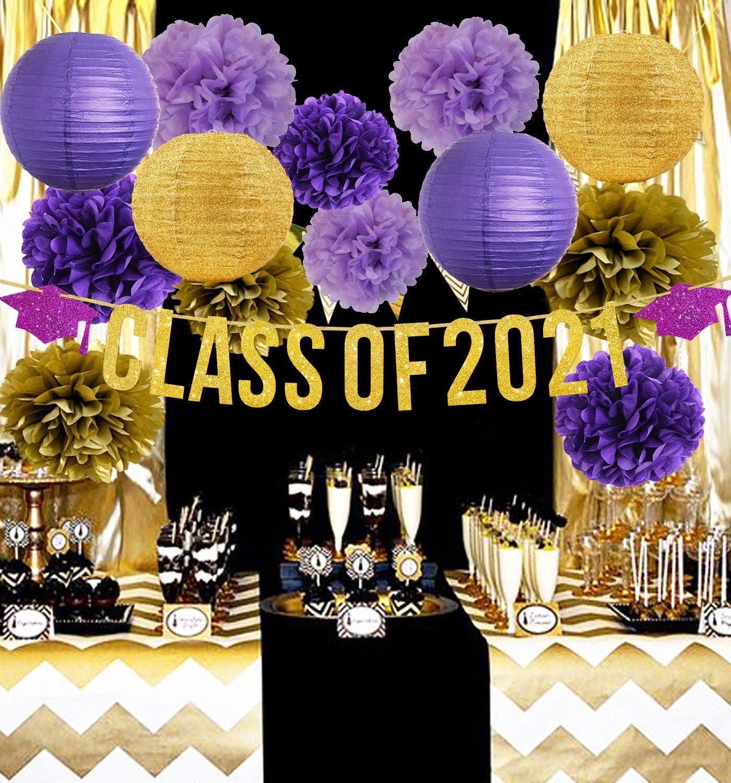 Graduation Decorations 2021 Purple Gold/Class of 2021 Graduation Banners,Graduation Party Decorations