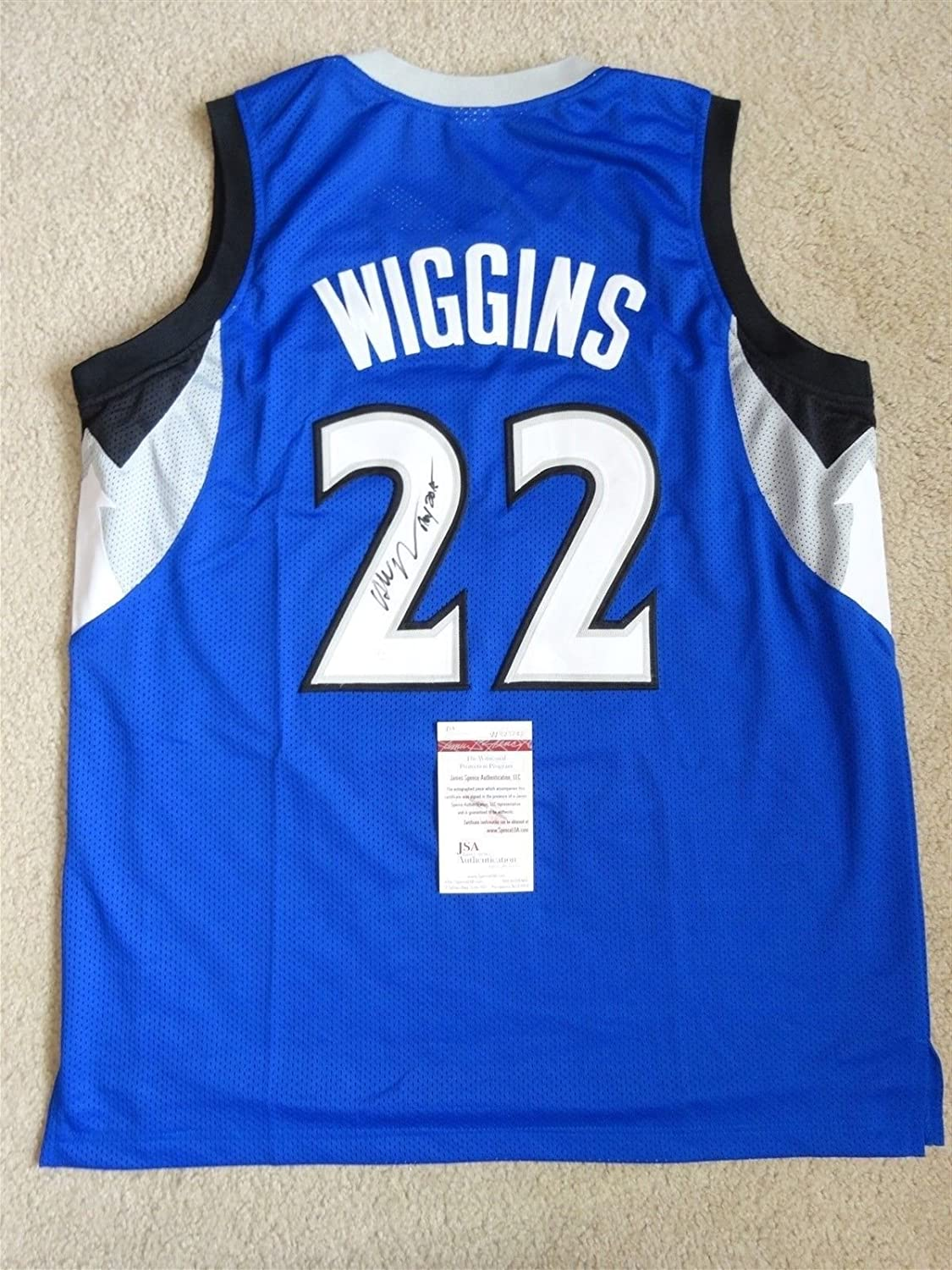 low priced 62072 f13d4 ANDREW WIGGINS SIGNED AUTO MINNESOTA TIMBERWOLVES BLUE ...