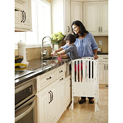 contemporary kitchen furniture. Guidecraft Contemporary Kitchen Helper Stool - White: Adjustable Height  Wooden Baking Tower, Folding Step Contemporary Kitchen Furniture