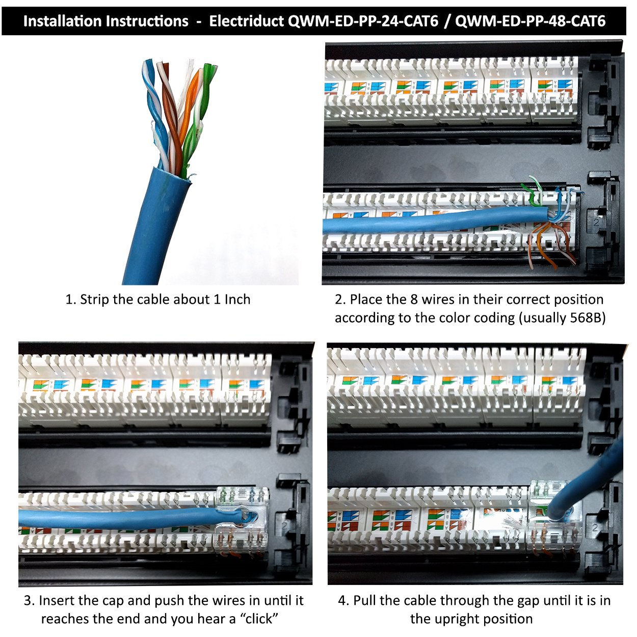 24 Port Cat6 Unshielded 1u Patch Panel 19 Inch Loaded W Wiring Diagram Besides Rj45 Connector Tool Less Keystone Jacks Rackmount Or Wallmount Computers Accessories
