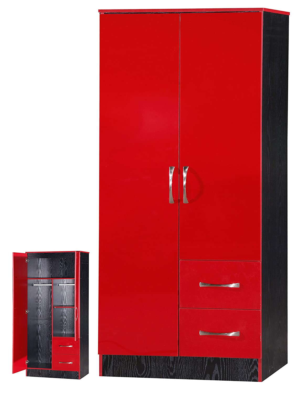 MARINA 2 DOOR DOUBLE COMBINATION WARDROBE ULTRA HIGH GLOSS QUALITY ...