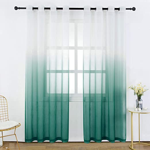 Faux Linen Gradient Semi Voile Grommet Top Bedroom and Living Room Curtains DWCN Black Ombre Sheer Curtains 42 x 54 Inch Length Set of 2 Window Curtain Panels