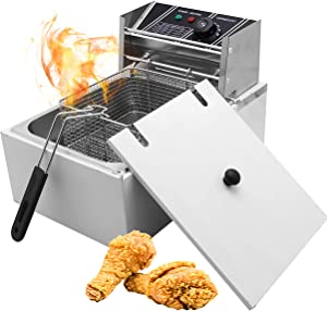 Huanyu 5.5L Commercial Fryer Electric Deep Fryer 60-200℃ Multifunctional Stainless steel French fries machine 2.5kw with Automatic Constant Temperature Control