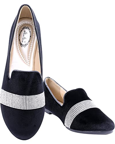 0ce1659b21 Amazon.com | Italina Women's Zara Rhinestone Loafer, Black/Velvet, 8 | Shoes