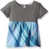 Calvin Klein Girls' Rolled Sleeve Flounce Top