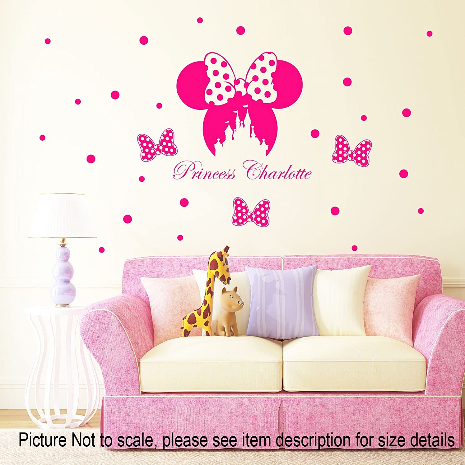 Disney Minnie Mouse bow head Removable Vinyl Wall Stickers Personalized Name Minnie Castle Decal Home Decor